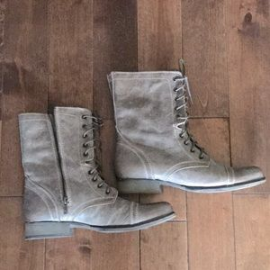 Steve Madden Leather Combat Boots- Gray-Size 10